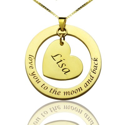 Solid Gold Custom Mom I Love You to the Moon and Back Necklace