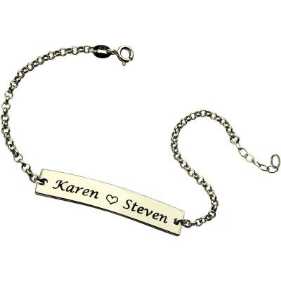 Solid Gold Engraved Name Bar Bracelet For Her