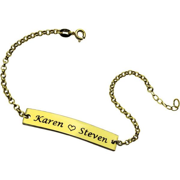 Couple Bar Bracelet Engraved Name - 18CT Gold