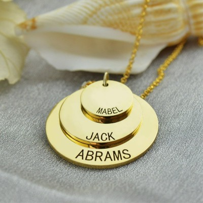 Disc Necklace With Kids Name For Mom - 18CT Gold