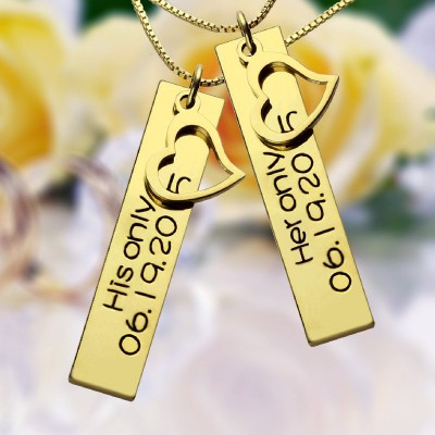 Couples Bar Necklace Engraved Name Date - 18CT Gold