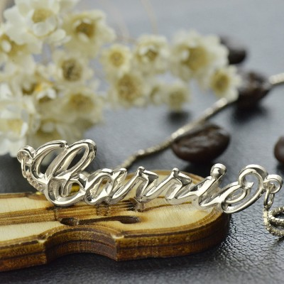 Solid White Gold 3D Carrie Name Necklace