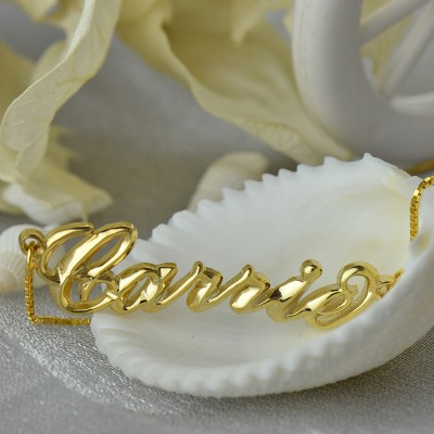 Personalised 3D Carrie Name Necklace 18CT Gold