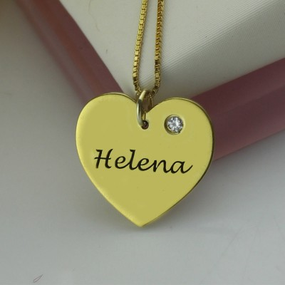 Simple Heart Necklace with Name Birhtstone - 18CT Gold