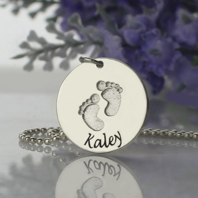 Solid Gold Memory Baby Footprints Name Necklace
