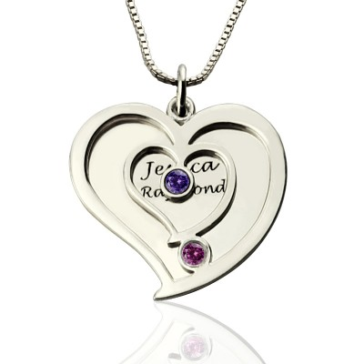 Solid White Gold Couples Birthstone Heart Name Necklace