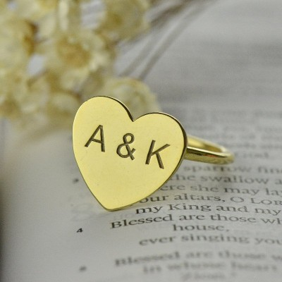 Engraved Sweetheart Ring with Double Initials - 18CT Gold