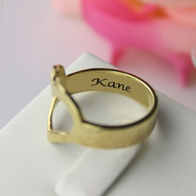Custom Heart Couple's Promise Ring With Name Gold