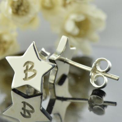 White Gold Personalised Star Stud Initial Earrings