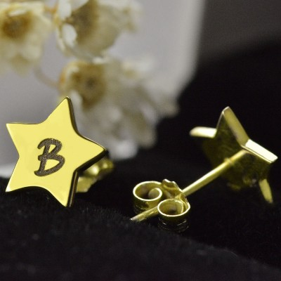 Star Stud Initial Earrings - Solid Gold