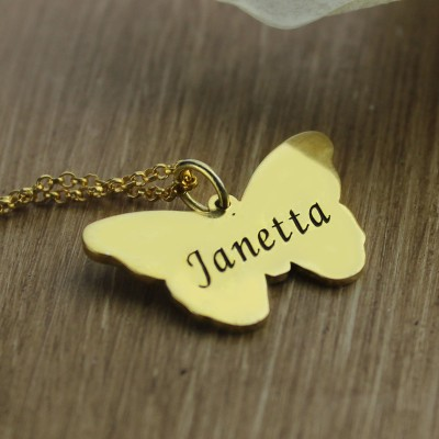 Custom Charming Butterfly Pendant Emgraved Name - 18CT Gold