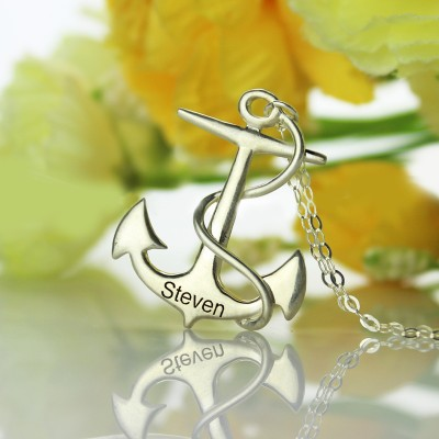 Solid White Gold Anchor Name Necklace Charms Engraved Your Name