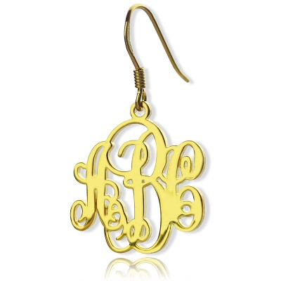 Script Monogram Initial Earrings - 18CT Gold