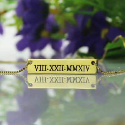 Personalised Roman Numeral Bar Necklace - 18CT Gold
