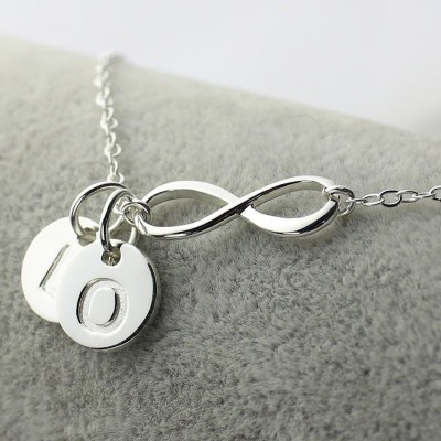 Solid White Gold Custom Infinity Initial Necklace,Sister Necklace,Friend Necklace