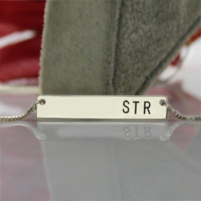 18CT White Gold Initial Bar Necklace