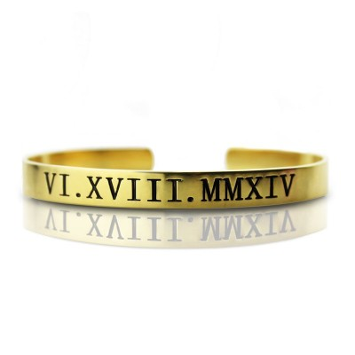 Personalised Roman Numeral Bracelet - 18CT Gold