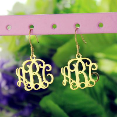 18CT Gold Monogram Earrings