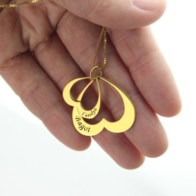 Heart in Heart Name Pendant - 18CT Gold