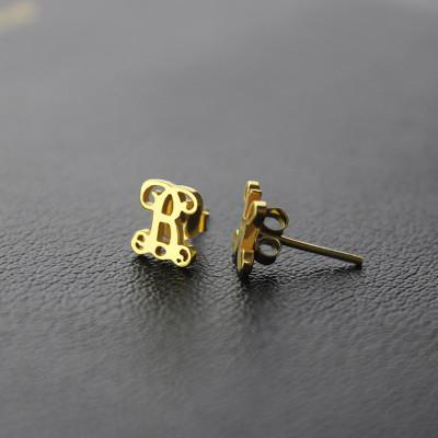 Single Monogram Stud Earrings - 18CT Gold
