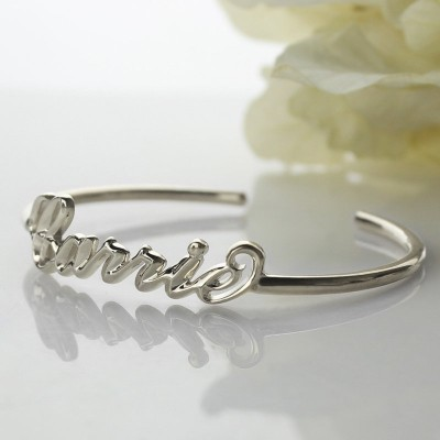 Personalised 18CT White Gold Name Bangle Bracelet