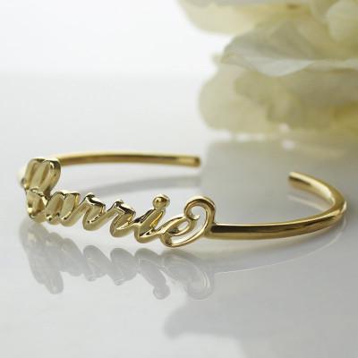 Personalised - 18CT Gold Name Bangle Bracelet