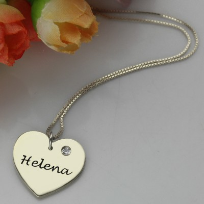 18CT White Gold Simple Heart Name Necklace with Birthstone
