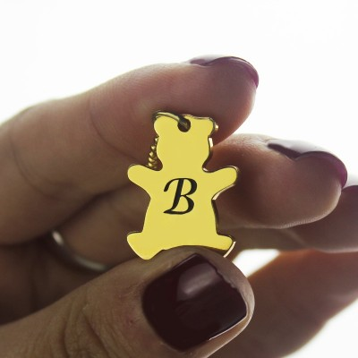 Cute Teddy Bear Initial Charm Necklace - 18CT Gold