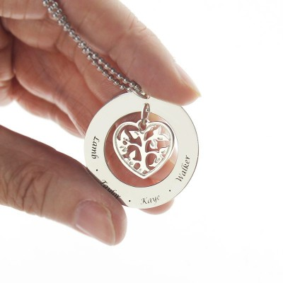 Solid Gold Heart Family Tree Necklace