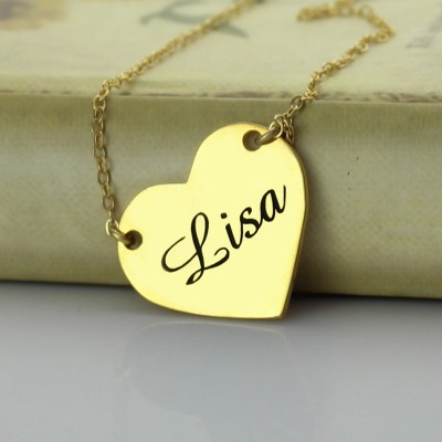 Stamped Heart Love Necklaces with Name - 18CT Gold