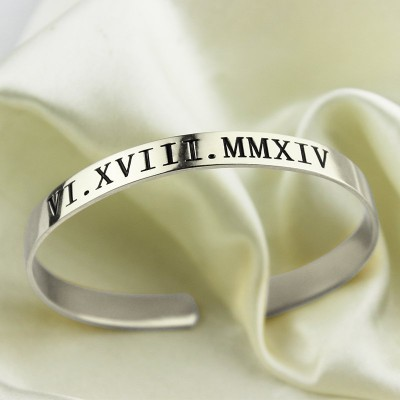 Solid Gold Roman Numeral Date Cuff Bracelet