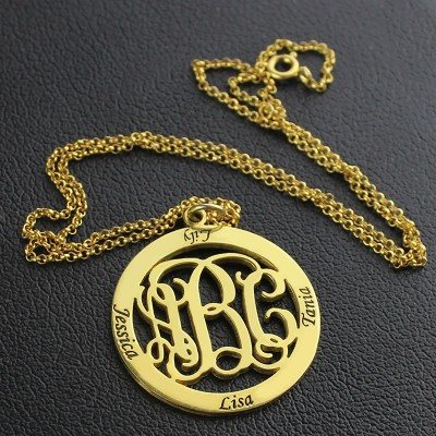 Family Monogram Name Necklace - 18CT Gold