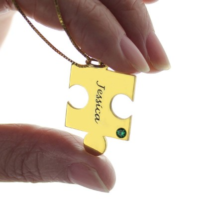 Matching Puzzle Necklace for Couple With Name Birthstone 18CT Gold Plate