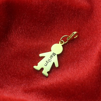 Personalised Boy Pendant Necklace With Name - 18CT Gold