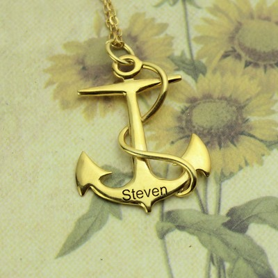 Anchor Name Necklace Charms Engraved Your Name 18CT Gold