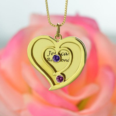 His Her Birthstone Heart Name Necklace - 18CT Gold