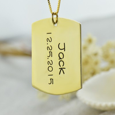 ID Dog Tag Bar Pendant with Name and Birth Date Gold