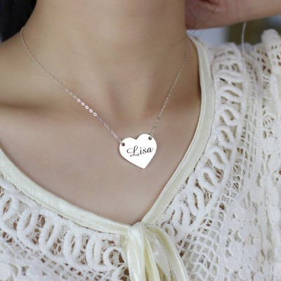 Solid Gold Stamped Name Heart Love Necklaces