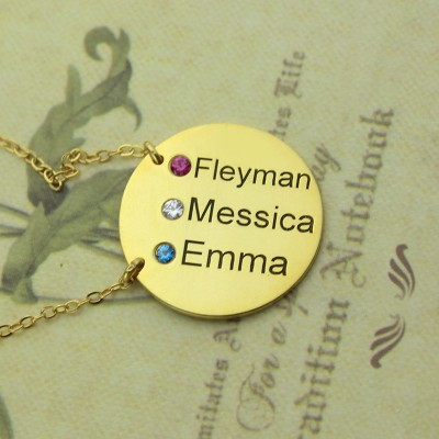 Disc Birthstone Family Names Necklace - 18CT Gold