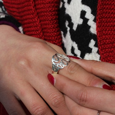 Hand Drawing Monogrammed Solid White Gold Ring