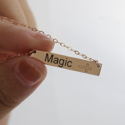 Engraved Name Bar Necklace with Icons 18CT Rose Gold