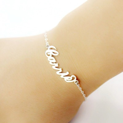 Personalised 18CT White Gold Carrie Name Bracelet