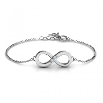 18CT White Gold Twosome Infinity Bracelet