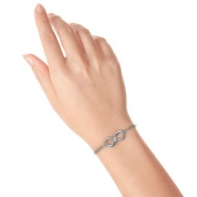 18CT White Gold Twosome Infinity Bracelet