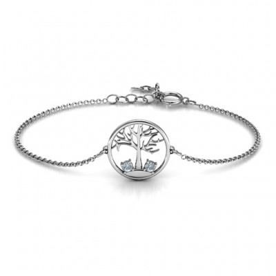 18CT White Gold 1 - 4 Stone Family Tree Bracelet