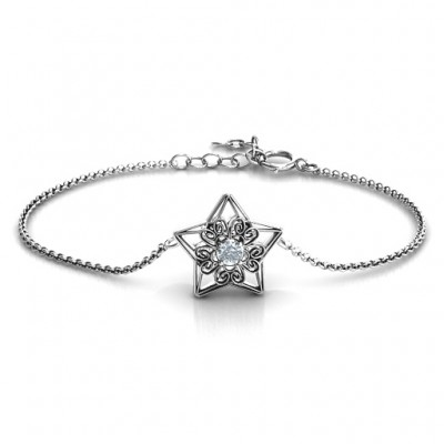 18CT White Gold 3D Star Bracelet with Filigree Detailing