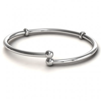 18CT White Gold Flex Bangle Charm Bracelet