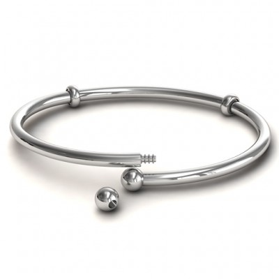 18CT White Gold Flex Bangle Charm Bracelet