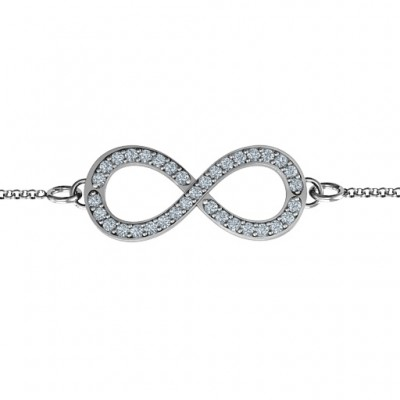 18CT White Gold Accented Infinity Bracelet
