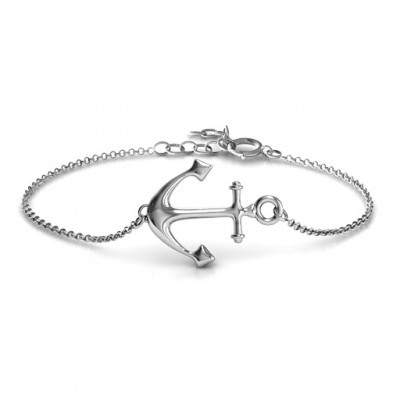 18CT White Gold Anchor Bracelet